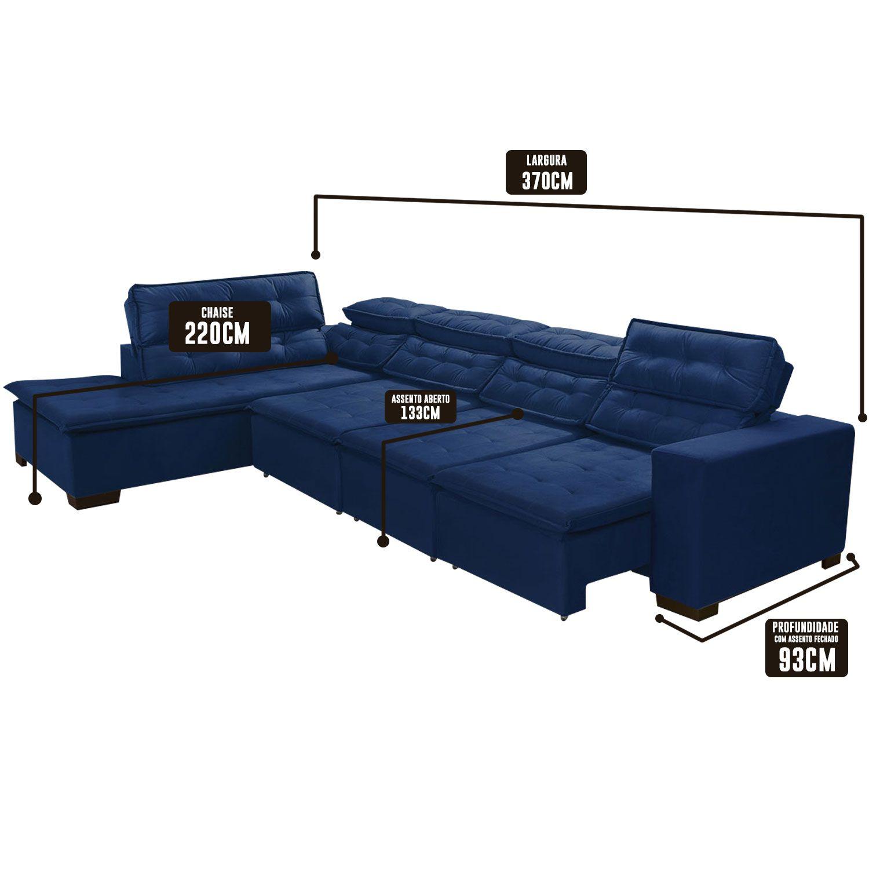 Sofá 7 Lugares de Canto Retrátil e Reclinável Pillow Chaise 3,70 x 2,20 m  Sttilo  Azul  - MegaSul