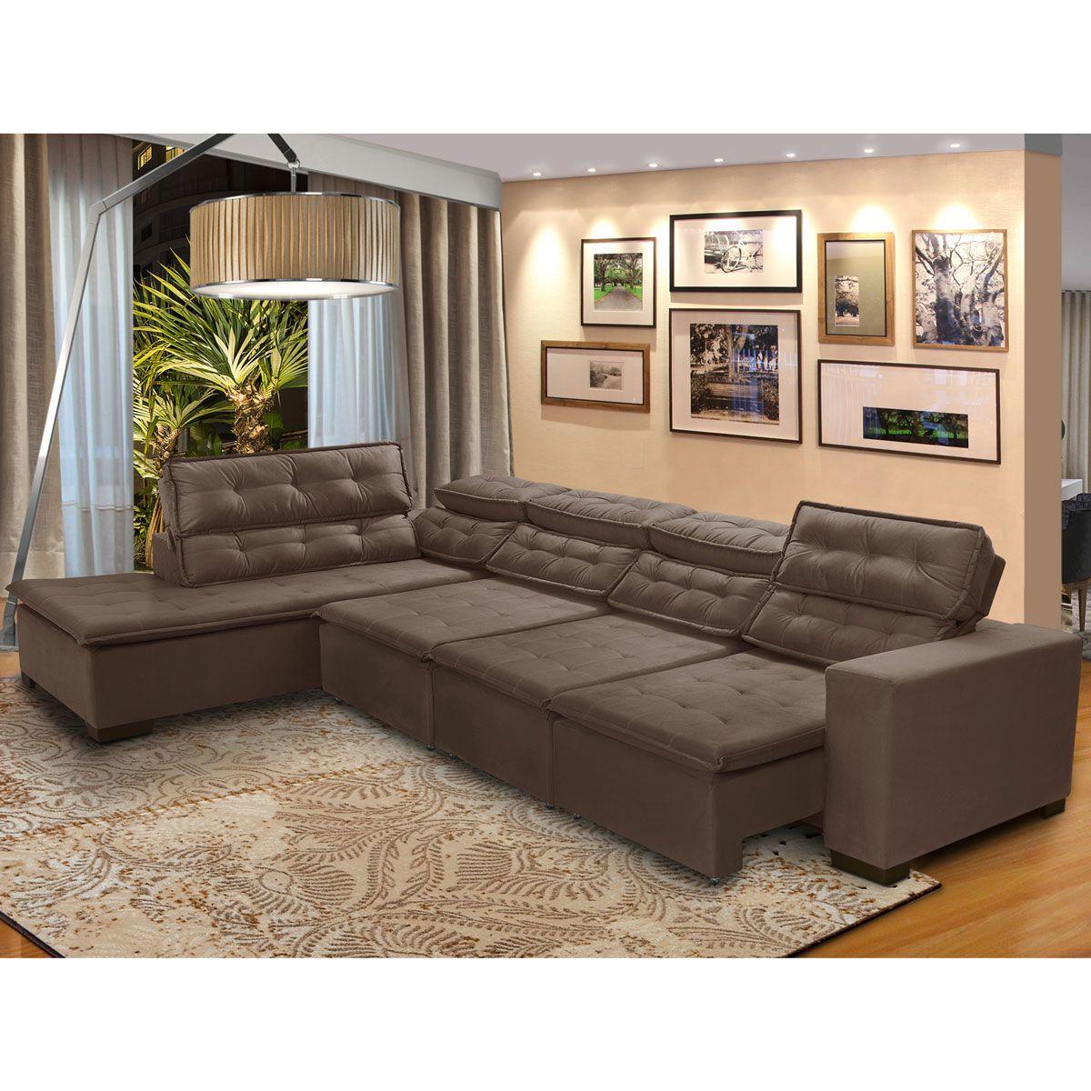 Sofá Canto Chaise 7 Lugares Retrátil e Reclinável Pillow 370 x 220 cm Sttilo - MegaSul