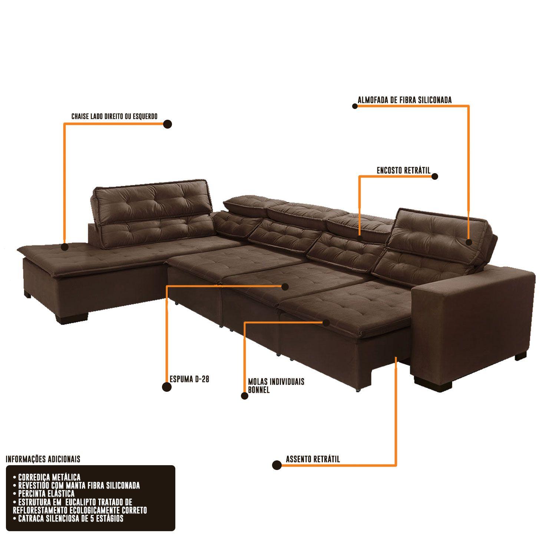 Sofá 7 Lugares de Canto Retrátil e Reclinável Sttilo com Chaise 3,70 x 2,20 m Marrom512 MegaSul