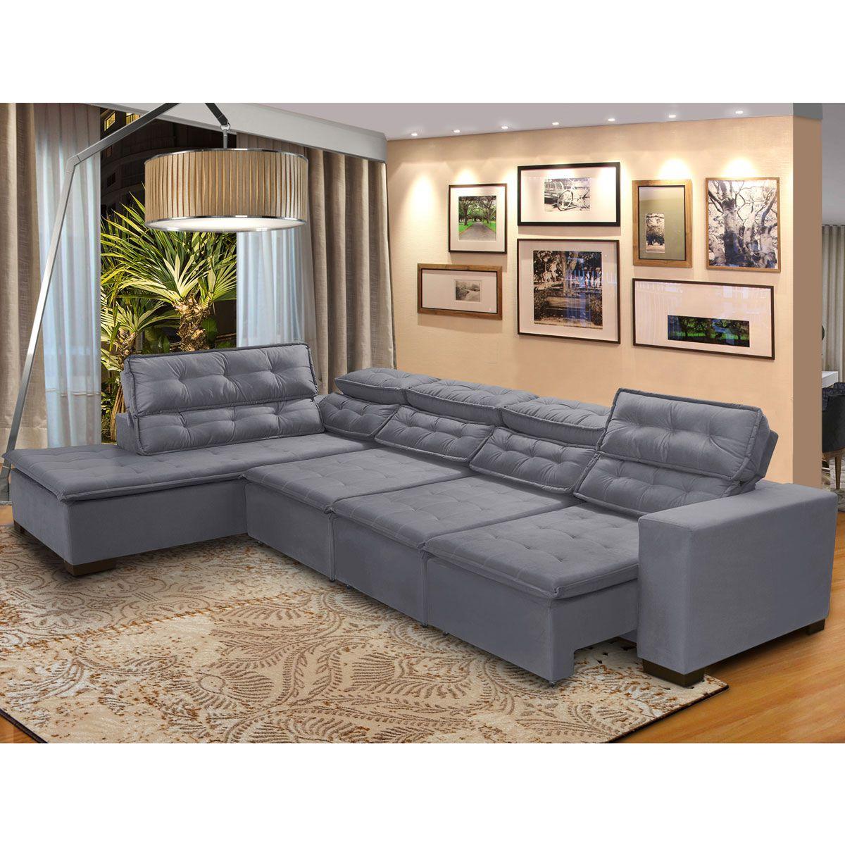 Sofá 7 Lugares de Canto Retrátil Reclinável Pillow Chaise D 3,70 x 2,20 m  Sttilo  Cinza - MegaSul