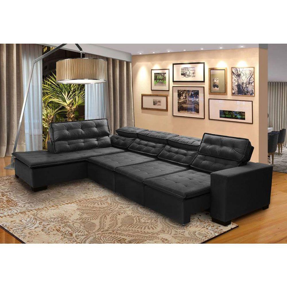 Sofá 7 Lugares de Canto Retrátil Reclinável Pillow Chaise D Sttilo 3,70 x 2,20 m Preto - MegaSul