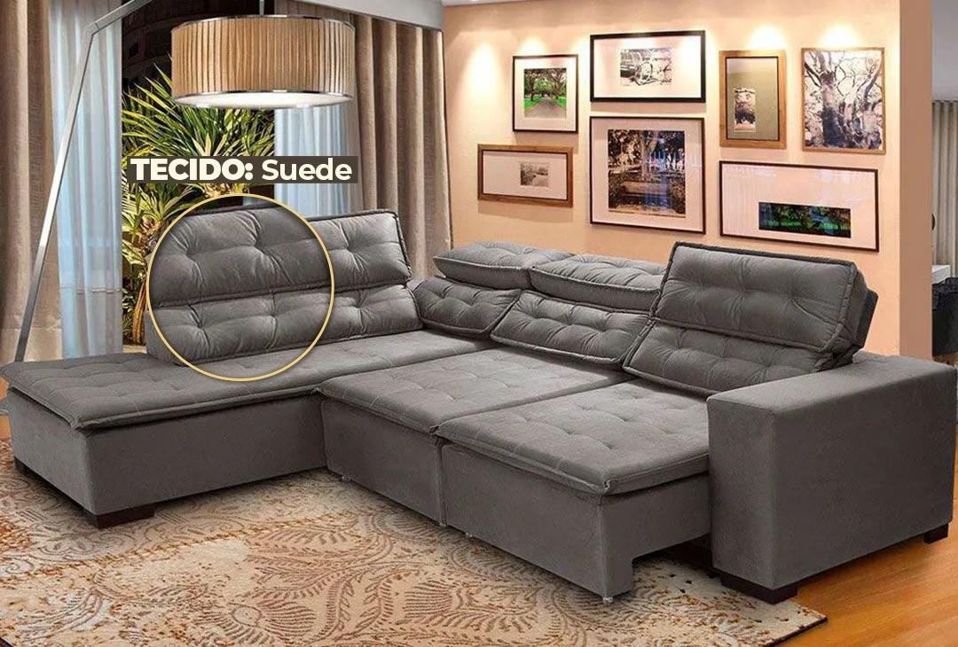 Sofá Canto 5 Lugares Chaise D Retrátil e Reclinável Pillow 280 x 220 cm Sttilo- TECIDO SUEDE -Megasul Cor Cinza