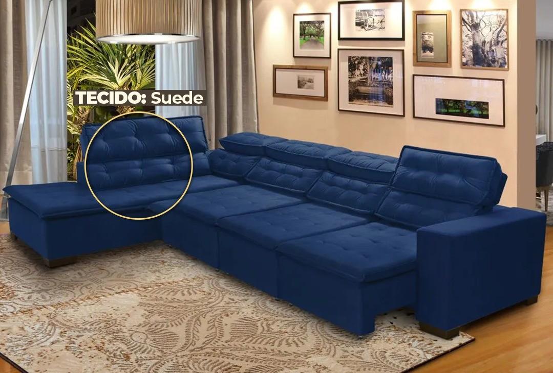 Sofá Canto Chaise D 7 Lugares Retrátil e Reclinável Pillow 360 x 220 cm Sttilo - MegaSul TECIDO SUEDE Cor Azul escuro