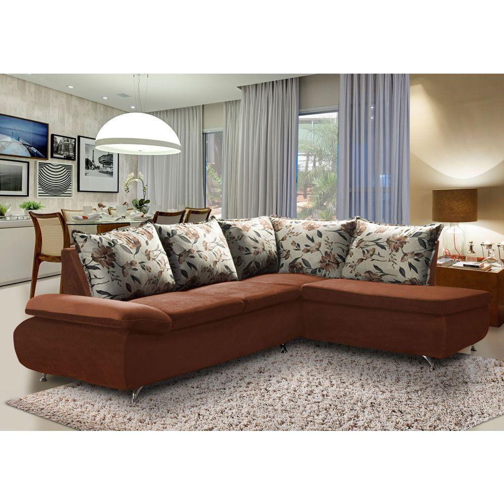 Sofá de Canto 8 Lugares Vilagio 270x196 Pillow com Almofadas Veludo Marrom - MegaSul