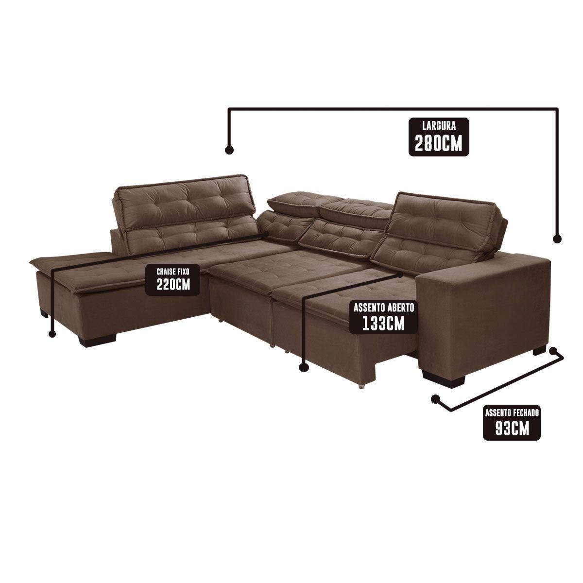 Sofá de Canto Retrátil 5 Lugares Reclinável Chaise 2,80 x 2,20 m Sttilo Marron/Cinza - MegaSul