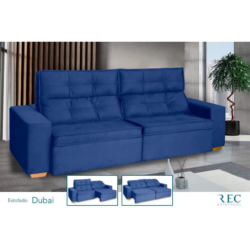 Sofá Retrátil e Reclinável Bi-Partido Dubai 6 Lugares Veludo Azul 300cm - Megasul