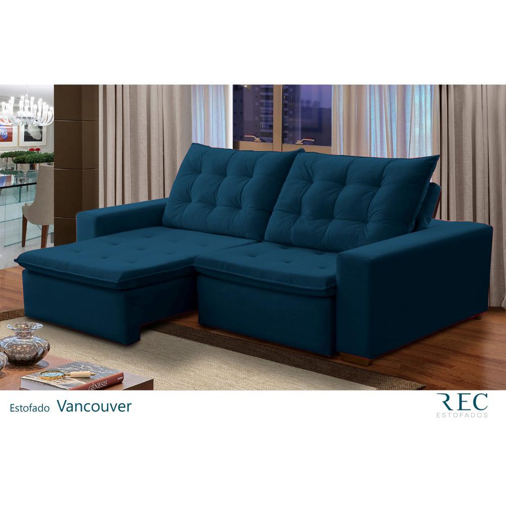 Sofá Retrátil e Reclinável Bi-Partido Vancouver 5 Lugares Veludo Azul Lux 250cm - Megasul