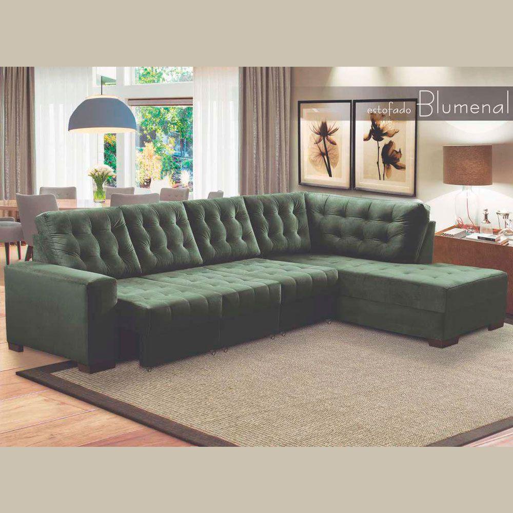 Sofá Retrátil Encosto Fixo 5 Lugares e Chaise Fixa Blumenal  3,10 M Veludo Verde Escuro - MegaSul