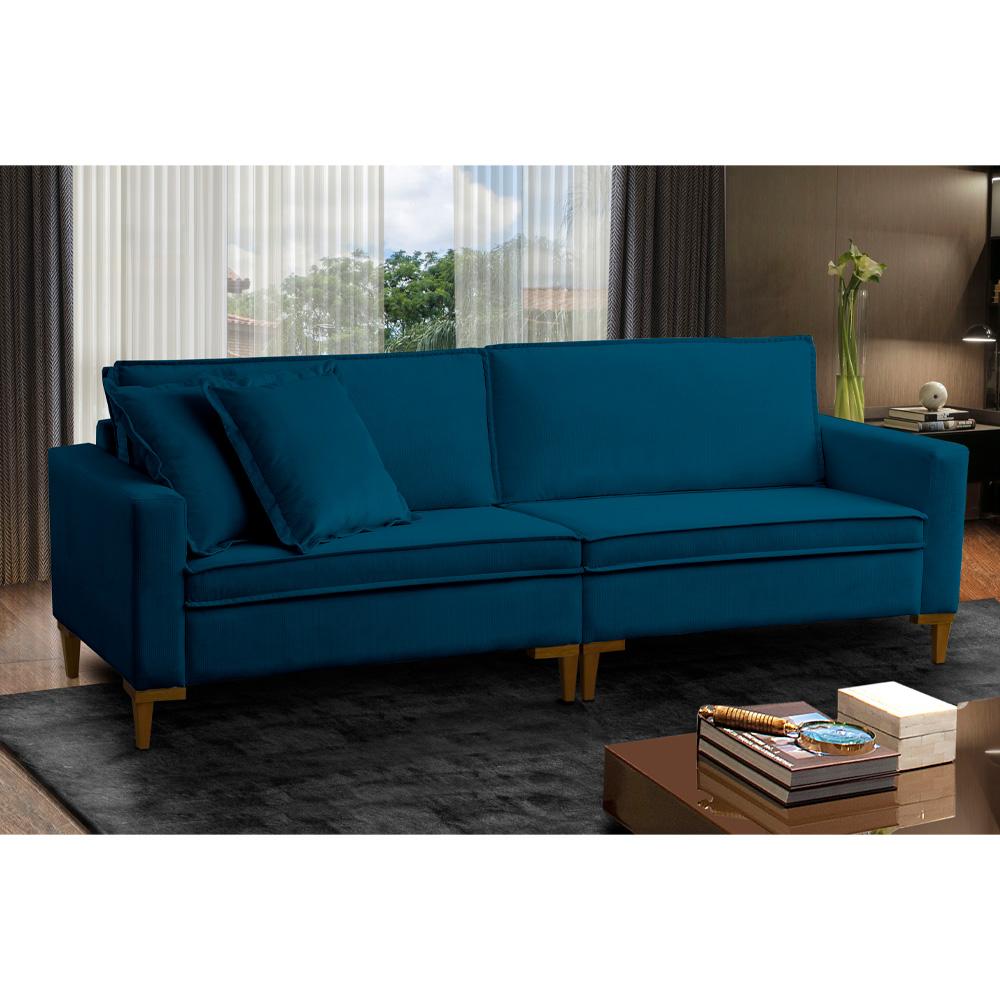 Sofá Seattle 3 Lugares Veludo Azul Lux 200cm - Megasul