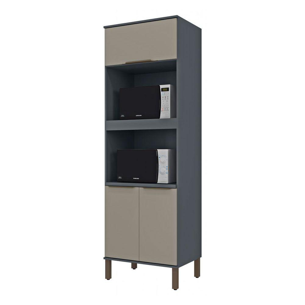 Torre de cozinha 02 Fornos 03 Portas 70cm TVE02 Titânio/Taupe MDP 15mm Verace - Megasul