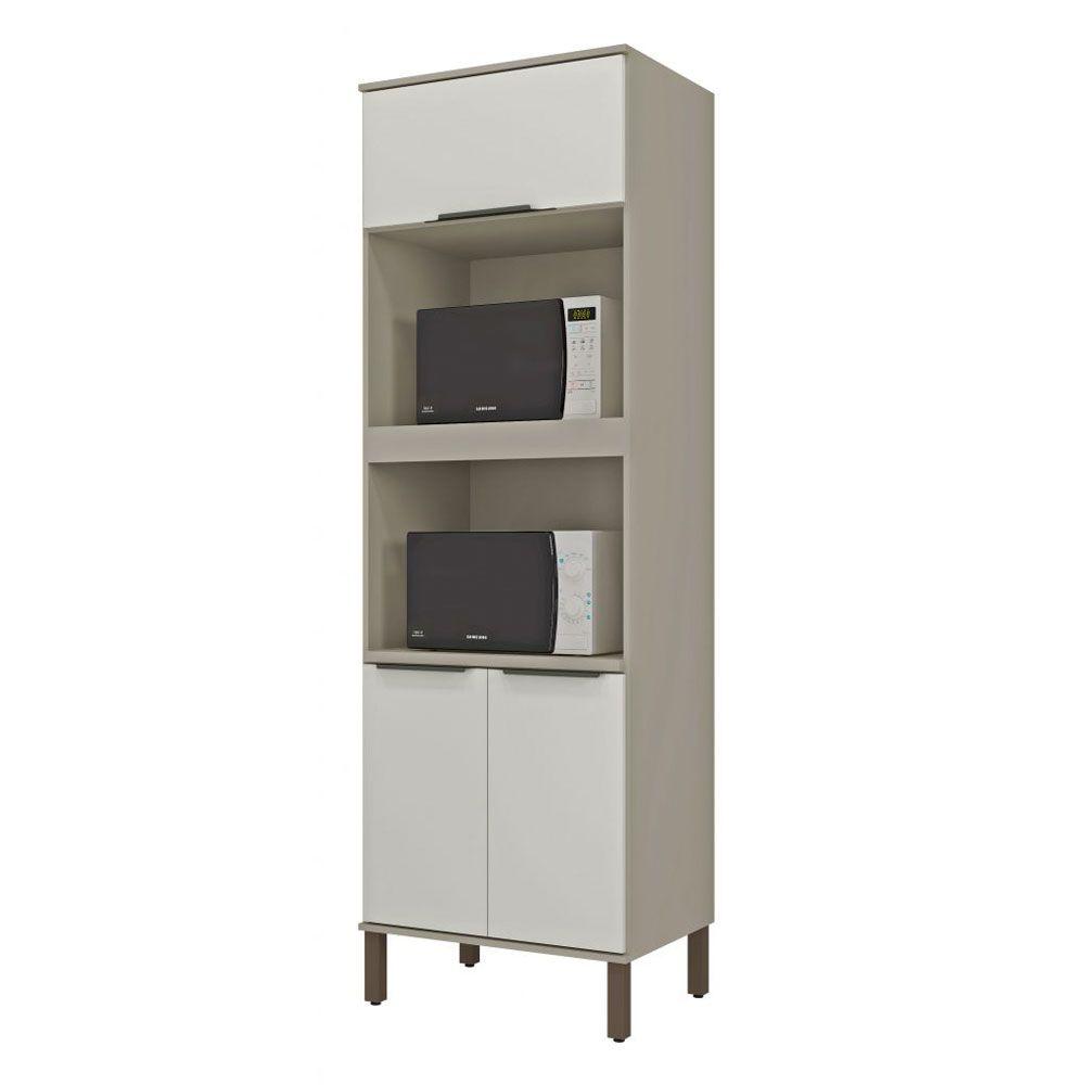 Torre de cozinha 02 Fornos 03 Portas 70cm TVE02 Taupe/Off White MDP 15mm Verace - Megasul
