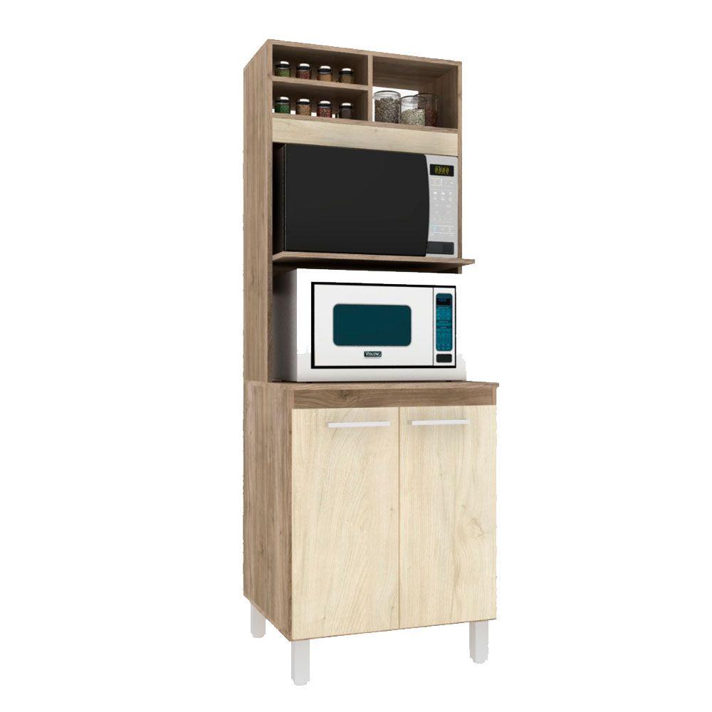 Torre de cozinha Lara Forno e Micro  02 Portas 63cm MDP Carvalho - Megasul