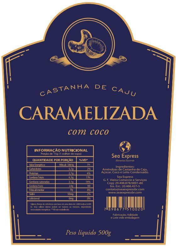 Castanha de Caju Caramelizada com Coco e Leite Condensado - 500g