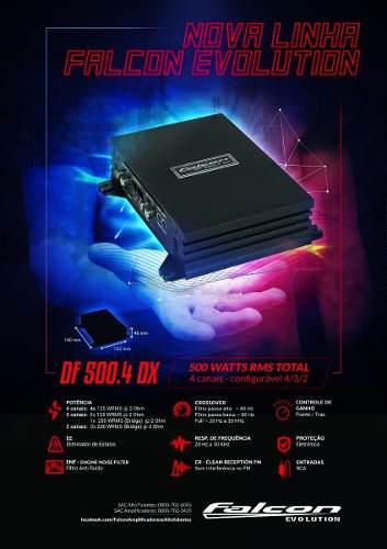 Modulo Falcon Df 500.4 Dx 4 Canais Mono E Stereo 500 Rms