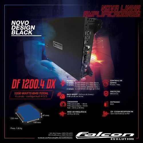 Modulo Falcon Df 1200.4 Dx 4 Canais Mono E Stereo 1200 Rms