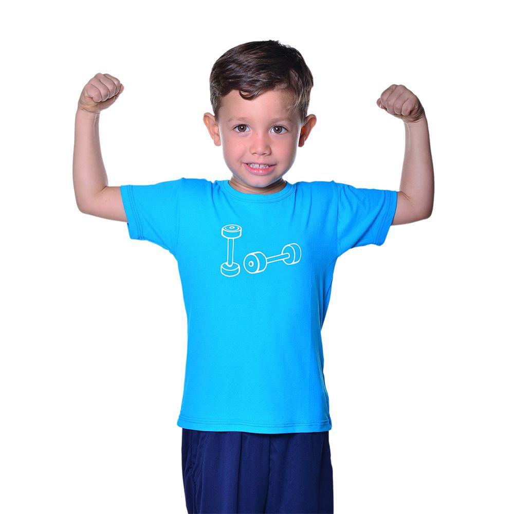Camiseta Fitness Infantil Unissex Dry Fit com Proteção Solar UV Atletinhas
