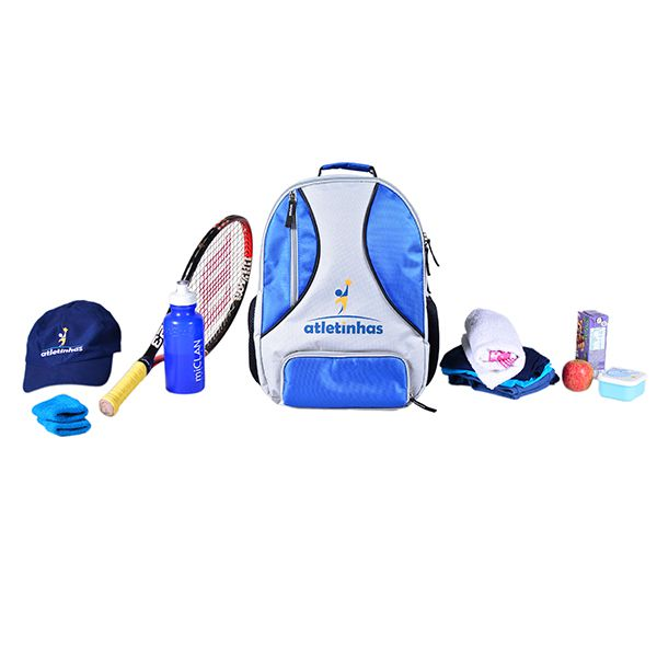 Mochila Infantil para Esportes - Cinza com detalhes Azul