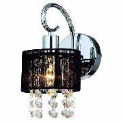 Arandela Cristal Sirius 1 Lampada Cúpula Preta Fios Seda