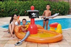 Piscina Banheira Bebê Infantil Navio Pirata Mor Espada Arara