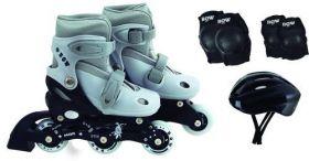 Kit Roller Patins Infantil Cinza T( 31 A 34 ) E Acessórios
