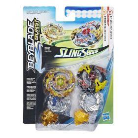 Beyblade Burst Turbo Slingshock Pack Duplo Galaxy Zeutron Z4 e Gold-X Betromoth B4 E4746 - Hasbro E4604