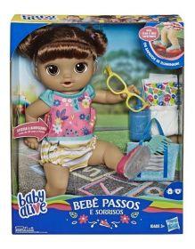 Boneca Baby Alive Passos e Sorrisos Morena - Primeiros Passinhos E5248 - Hasbro