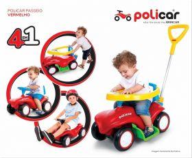 Carrinho Passeio Andador Infantil Policar Vermelho 7034 - Poliplac