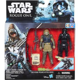 "Star Wars Figuras 3.7"" com Acessórios - Death Trooper e Rebel Commando Pao - Hasbro"