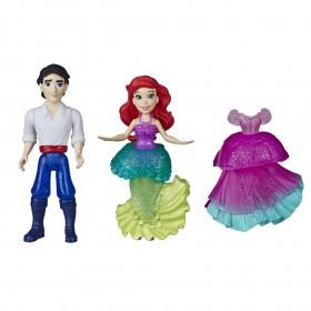 Mini Boneca Ariel e Príncipe Eric Moda Arco-iris Royal Clips E9054 E9044 - Hasbro