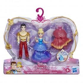 Mini Boneca Cinderela e Príncipe Encantado Moda Arco-iris Royal Clips E9055 E9044 - Hasbro