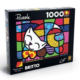 Quebra Cabeça 1000 Peças Romero Britto Cat - Puzzle Grow