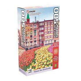 Quebra Cabeça 500 Peças Flores em Amsterda - Puzzle Grow