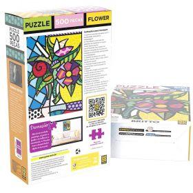 Quebra Cabeça 500 Peças Romero Britto Flower - Puzzle Grow
