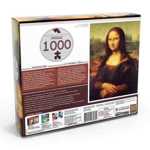 Puzzle 1000 Peças Monalisa Grow - Quebra Cabeça Grow