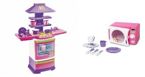 Fogãozinho Infantil Big Chef + Microondas Com Som Calesita