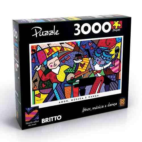 Quebra Cabeça Puzzle Grow 3000 Peças Romero Britto - Amor Musica E Dança