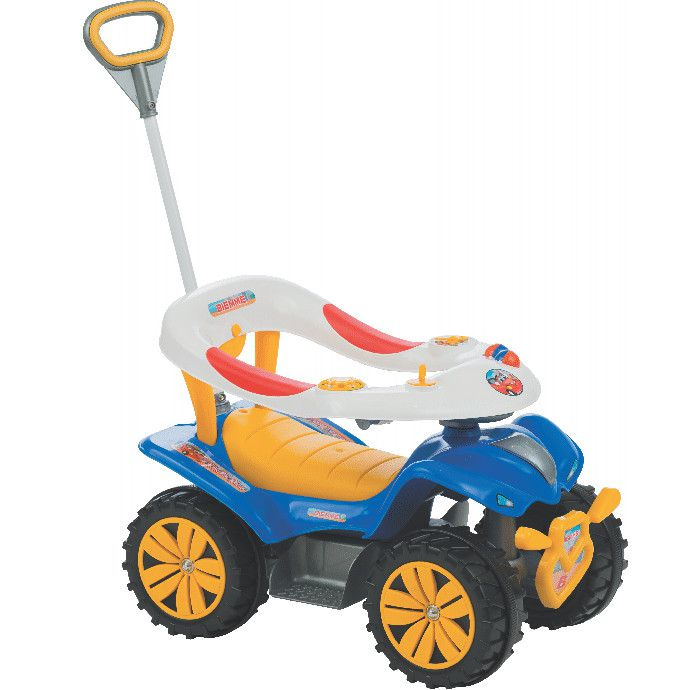 Andador Infantil quadriciclo Biemme Dudu Car Style Azul 718 Com Haste que controla as Rodas dianteiras