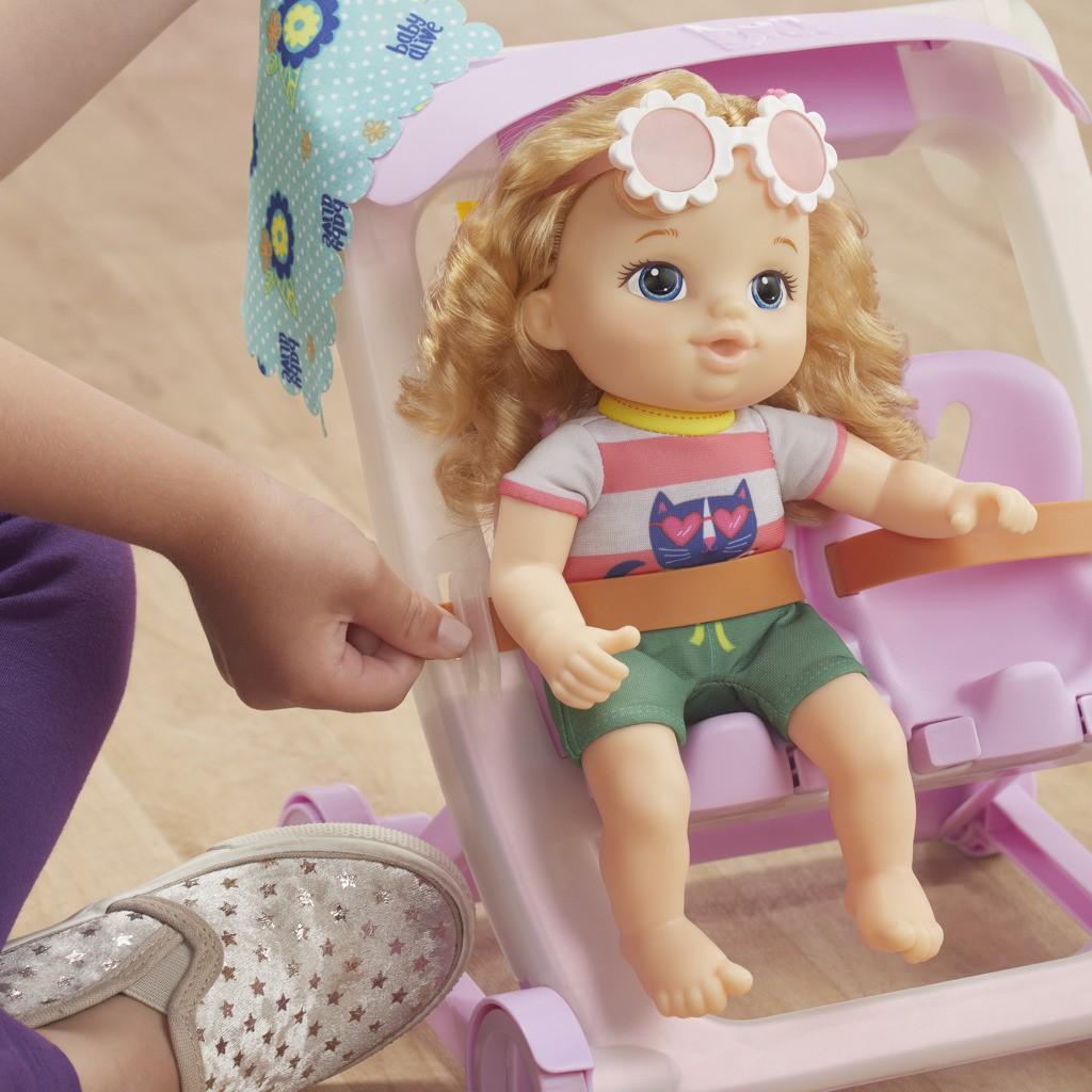 Carrinho de Boneca Com Baby Alive Littles Loira E7182 E6703 - Hasbro