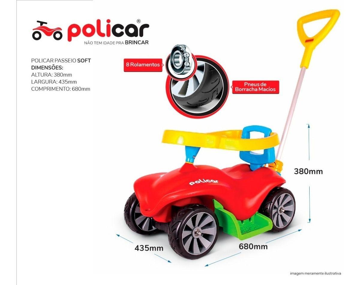 Carrinho de Passeio Andador Infantil Policar Soft Vermelho 7065 - Poliplac