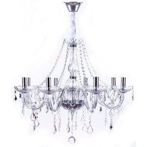 Lustre de Cristal K9 para 8 Lâmpadas Maria Thereza Transparente - Arquitetizze