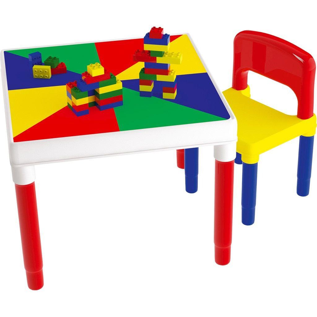Mesa Infantil Multiatividades  com 1 Cadeira  e Blocos para Montar - 9050 - Bell toy