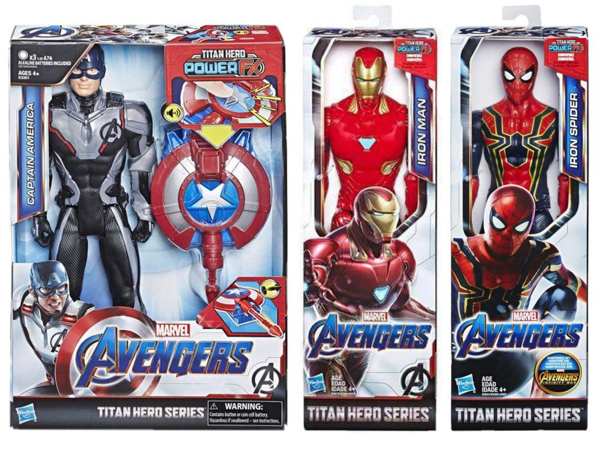 Pack Boneco Capitao America Com Dispositivo Power FX E3301 + Iron Man E3918 + Iron Spider E3308 - Hasbro