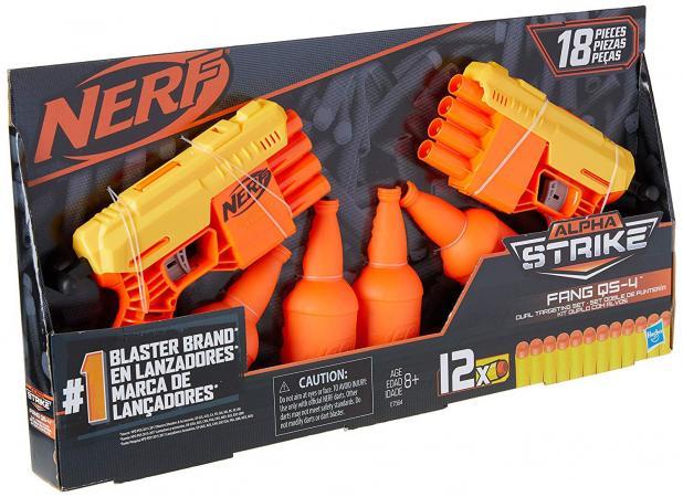 Lançador Nerf Pack Duplo  Alpha Strike Fang QS-4 com 4 Alvos e 12 Dardos E7564 - Hasbro