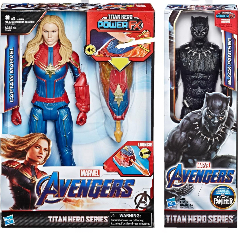 Pack Vingadores Ultimato Boneco Capitã Marvel com Dispositivo Power Fx E3307  + Boneco Pantera Negra E3309 - Hasbro