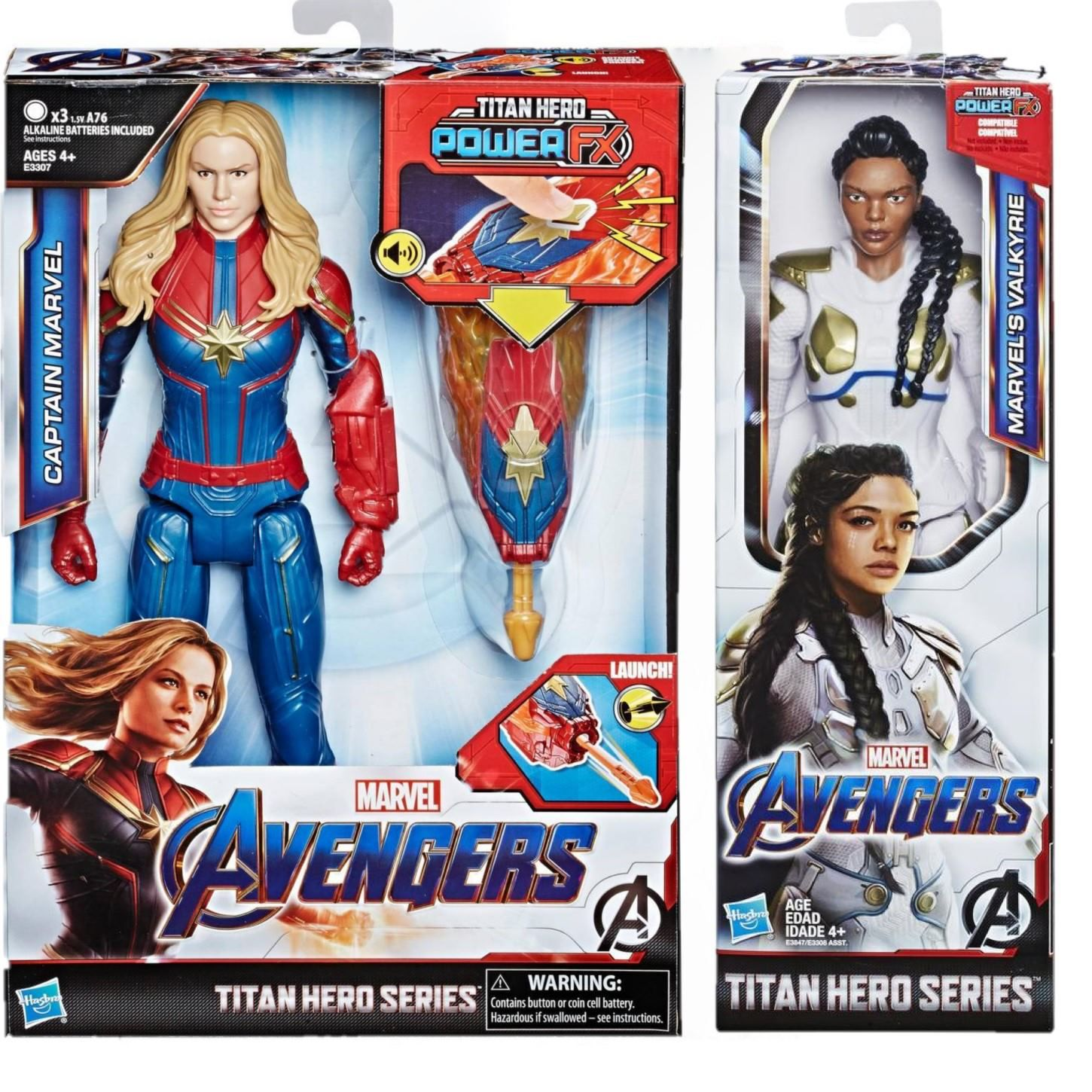 Pack Vingadores Ultimato Boneco Capitã Marvel com Dispositivo Power Fx E3307  + Boneco Valquiria E3847 - Hasbro