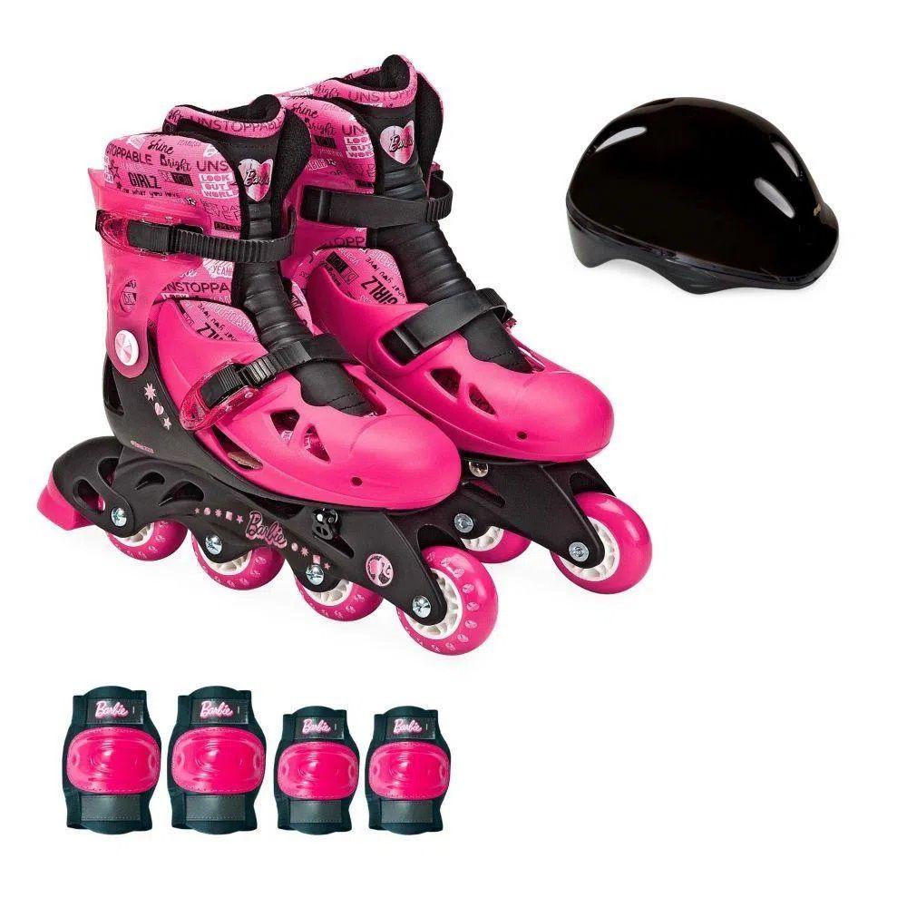 Patins da Barbie Ajustável 33 ao 36 e Acessórios F00108 - FUN