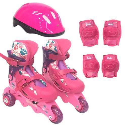 Patins da Barbie 3 rodas Ajustável 29 ao 32 e Acessórios F00107 - FUN