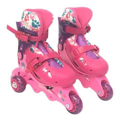 Patins Infantil Barbie 29 A 32 Com 3 Ou 4 Kit Proteção Fun