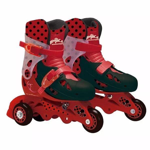 Patins Infantil Ladybug 3 Rodas Com Kit De Segurança 29 A 32 - Fun