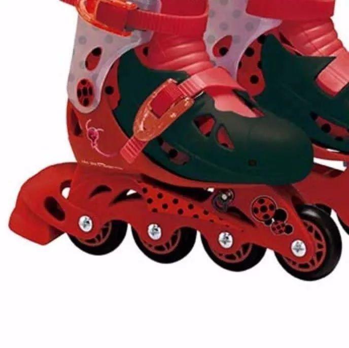 Patins Ladybug Infantil Ajustável N 33 A 36 Com Kit Proteção